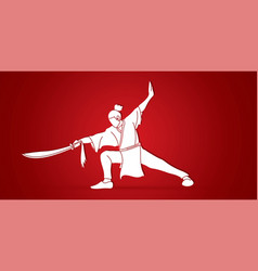 kung fu wushu with sword pose cartoon graphic vector image