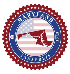 Label sticker cards of State Maryland USA vector
