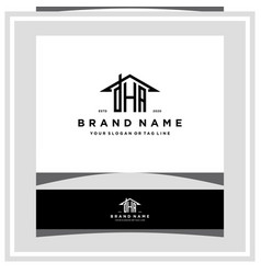 Letter dha home roof logo design and business card vector