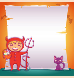 little devil with black kitten happy halloween vector image