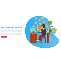 make money online banner inscription business vector image