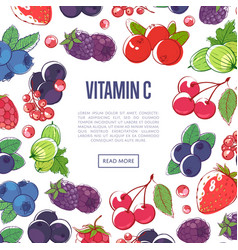 natural vitamins poster with mixed berries vector image