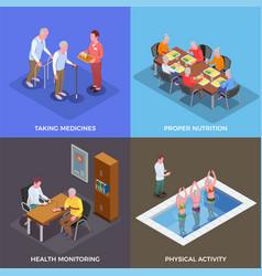Nursing home 2x2 design concept vector