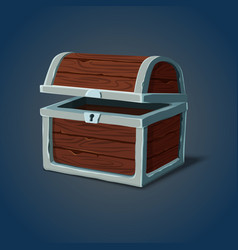 Opened wooden chest or pirate crate icon vector