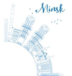 Outline Minsk skyline with blue buildings vector image