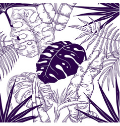 Palm leaves seamless pattern plant vintage vector