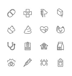 Pet vet- flat line icons vector