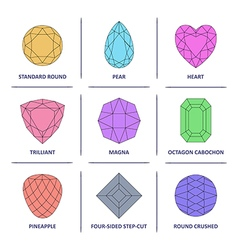 Popular colored outline jewelry gems cuts vector image