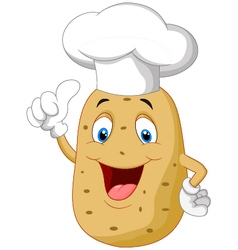 Potato chef cartoon giving thumb up vector