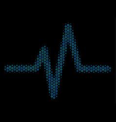 Pulse composition icon of halftone circles vector
