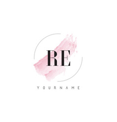 Re r e watercolor letter logo design with vector