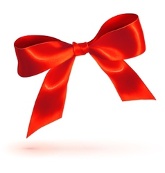 Red glossy bow on white background vector