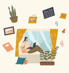 Remote workplace freelance self-employed vector