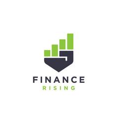 rising hand finance chart power growth logo vector image