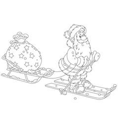 santa with his toy bag vector image