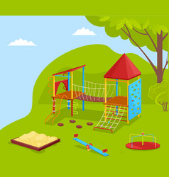 School yard with swing carousel and slide vector