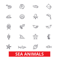 Sea animals ocean creatures dolphin octopus vector