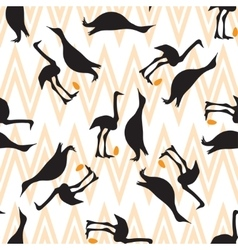 Seamless vintage pattern with penguin and ostrich vector
