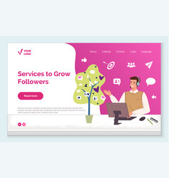 Services to grow followers and increase audience vector