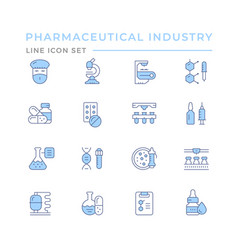 Set color line icons pharmaceutical industry vector