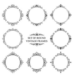 set of eight decorative vintage frame vector image