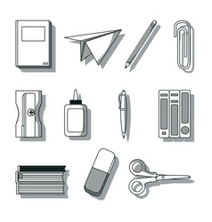 Set of school utensils draws vector