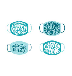 set thank you nurses lettering text on vector image