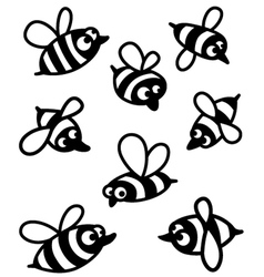 set with cute bee silhouettes vector image