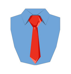shirt and tie flat icon front view vector image