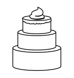 Sketch contour of hand drawing three-story cake vector