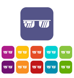Smart glasses icons set vector