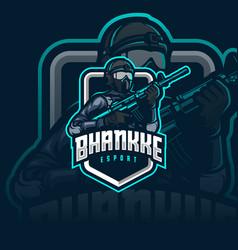soldier mascot esport logo vector image