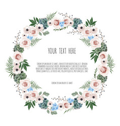 Spring wreath floral background with beautiful vector