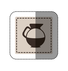 Sticker monochrome square with glass jar of coffee vector