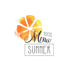 summer menu 100 percent logo element for healthy vector image
