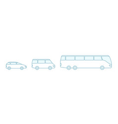 the size options bus transfer small vector image