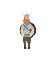 Thin red-bearded viking stands with shield behind vector