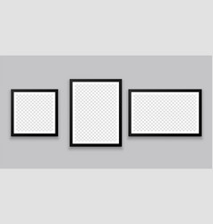 three gallery wall style photo frames vector image