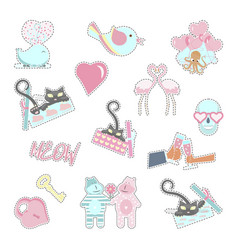 Trendy patches badges stickers and pins vector