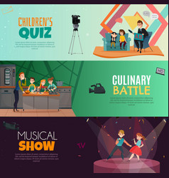 Tv show kids horizontal banners vector