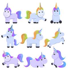 Unicorn icons set cartoon style vector