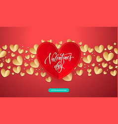 valentines background with romantic red and gold vector image