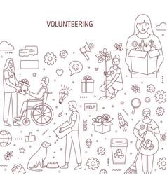 Volunteering banner design humanitarian vector