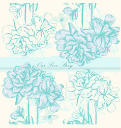 wedding invitation card with flowers vector image