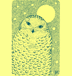 white polar owl - graphic drawing with wildlife vector image