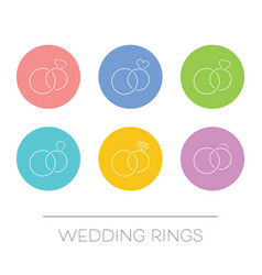white thin line wedding rings vector image