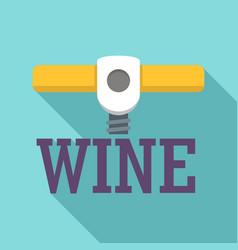 wine corkscrew logo flat style vector image