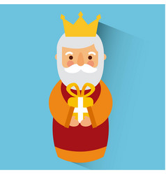 wise king christmas celebration bring presents to vector image