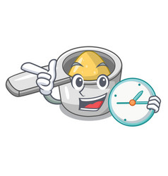 with clock character measuring spoon for cooking vector image