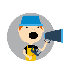 Young boy in hat with megaphone icon vector